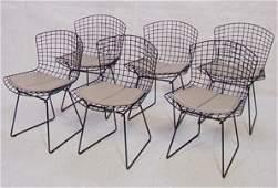 581: Set Six Knoll BERTOIA Wire Frame Chairs. Black Met