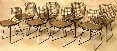 582: Set Eight Knoll BERTOIA Wire Frame Chairs. Black M