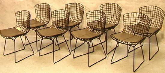 Set Eight Knoll BERTOIA Wire Frame Chairs. Black M