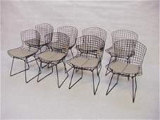660: Set Eight BERTOIA Wire Frame Chairs. Black Metal F