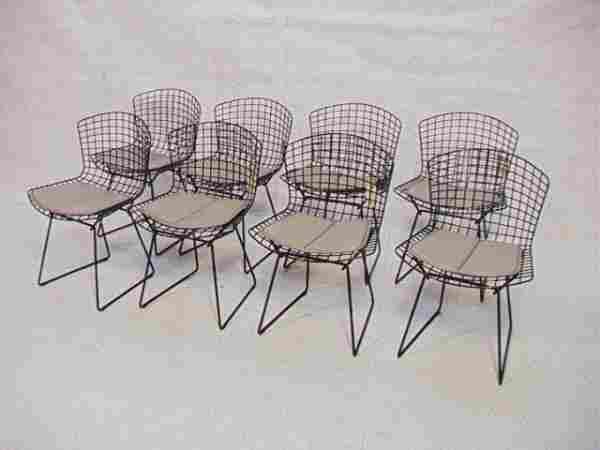 Set Eight BERTOIA Wire Frame Chairs. Black Metal F