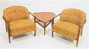 2 Selig Finn Juhl Style Danish Teak Lounge Chairs.