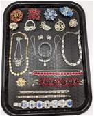 23pc Colored Crystal Rhinestone Vintage Costume Jewelry