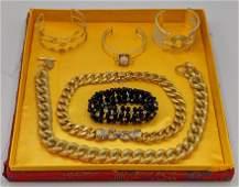 6pc Gold Tone Contemporary Costume Jewelry. VOGUE BIJOU