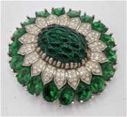 PANETTA Vintage Costume Jewelry Pin Brooch. Green and c