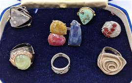 7pc Sterling Silver Contemporary Ladies Ring Lot. Incl.