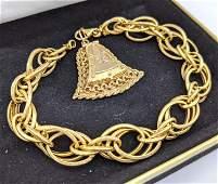 14k Gold Pendant Locket Charm Bracelet. 14k yellow gold