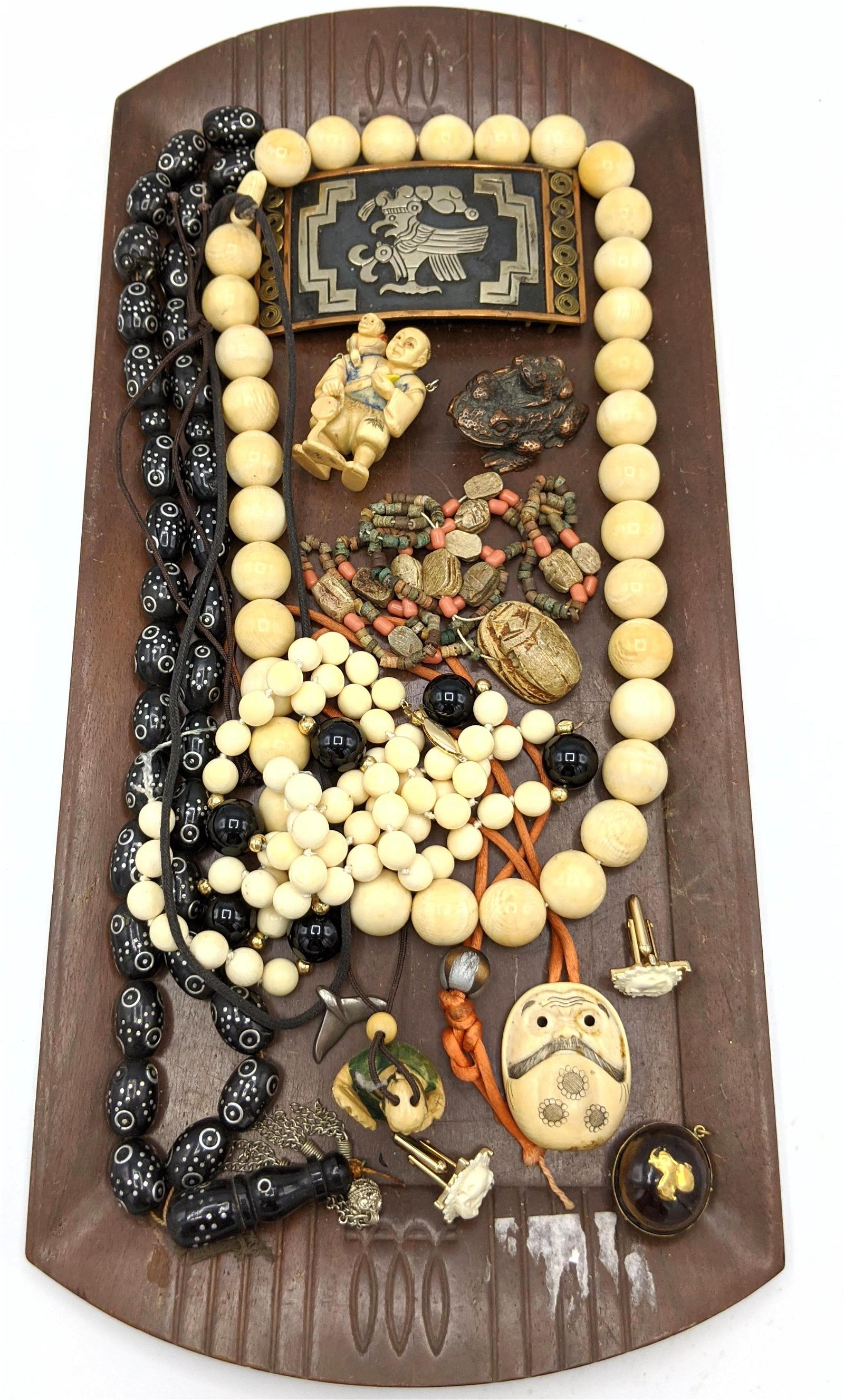 12pc Asian, Middle Eastern Jewelry Lot. Onyx and bone b