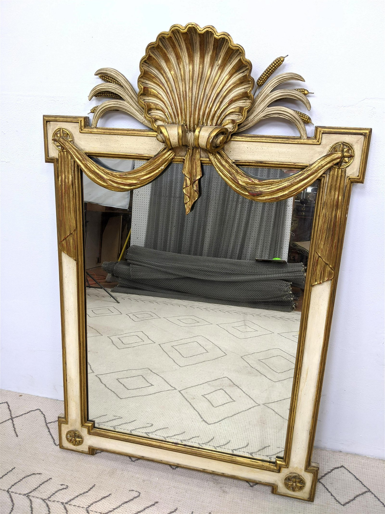 Italian Style Carved Wood Wall Mirror.  Shell design to