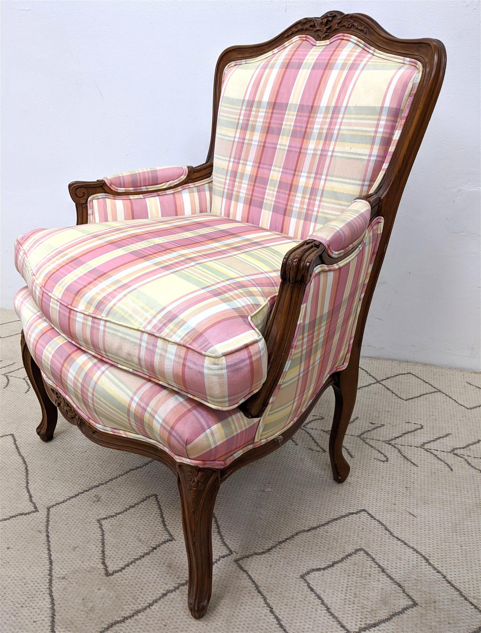 Country French Arm Lounge Chair. Carved frame.