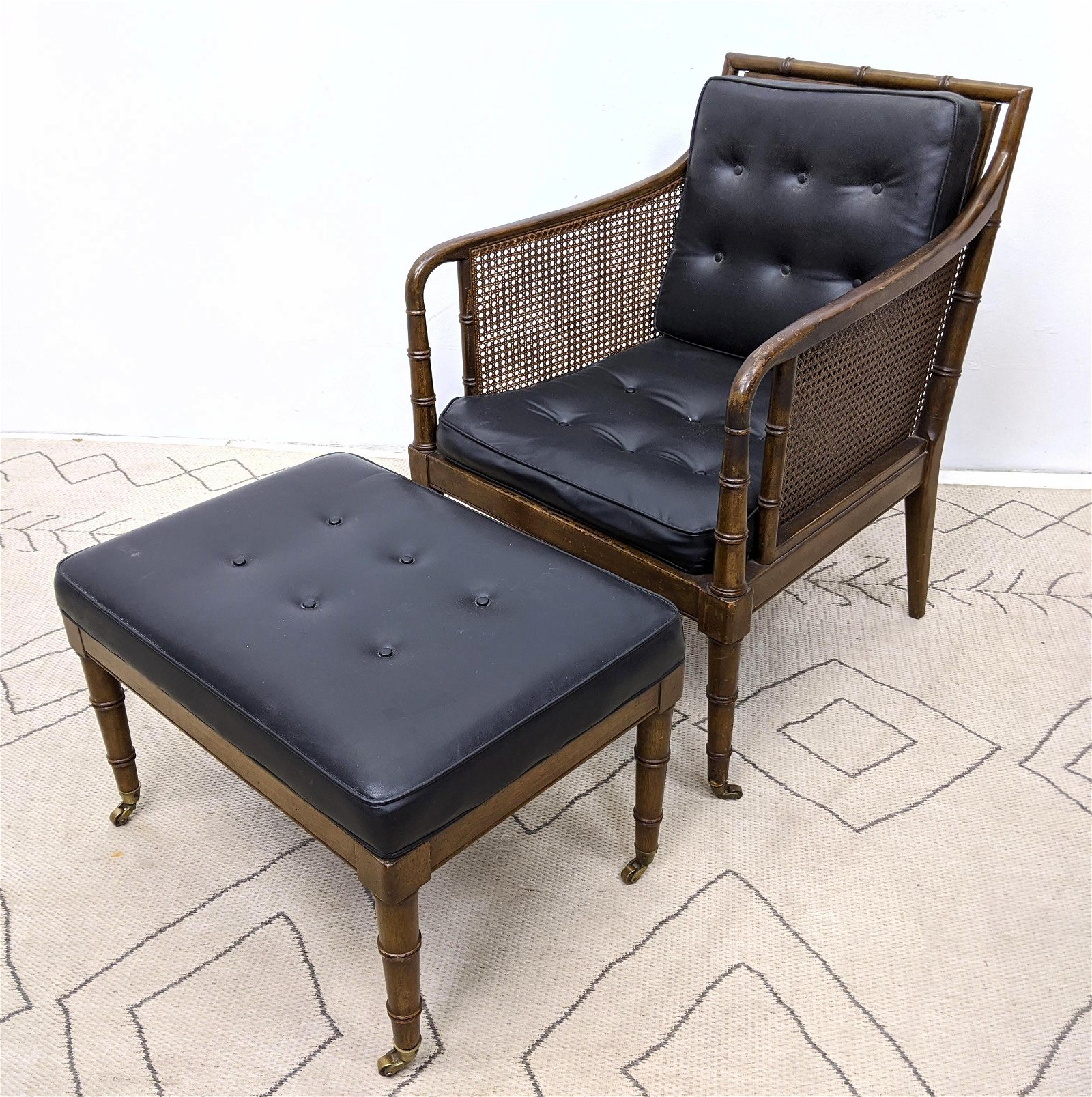 Decorator Regency Style Lounge Chair and Ottoman.  Cane
