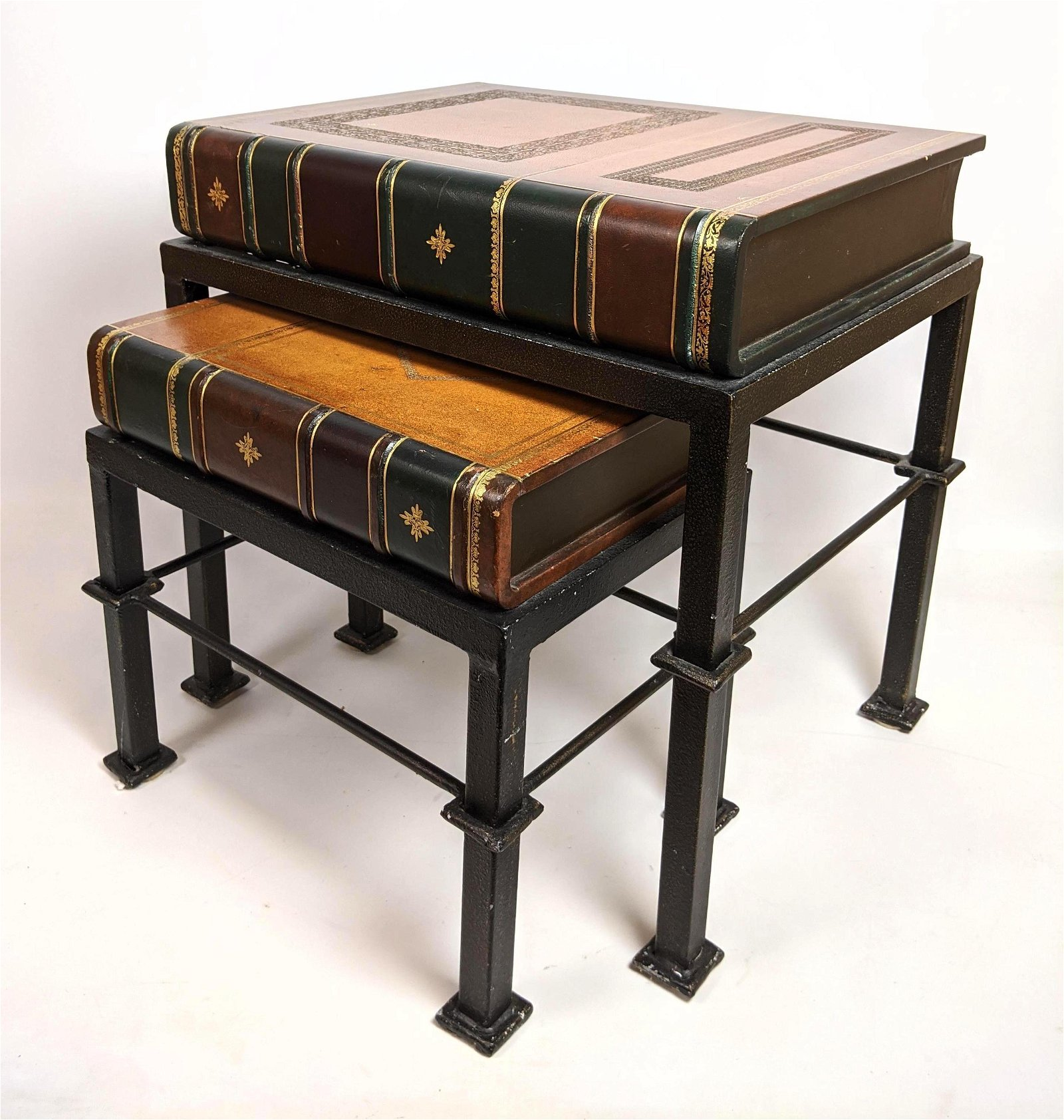 Contemporary Book Form Nesting Tables.  Metal Bases.