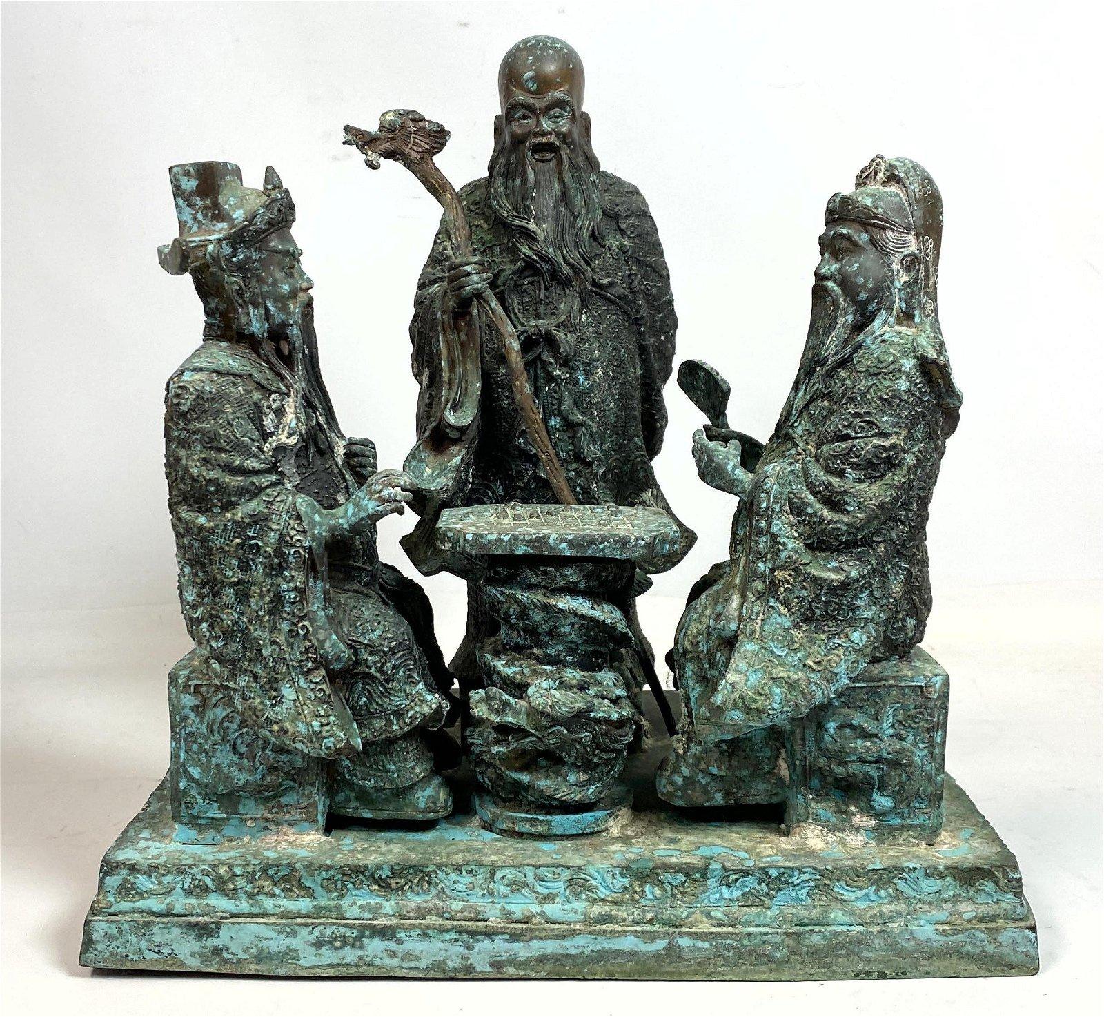 Bronze Figural Grouping Sculpture.  Asian Figures at Ga