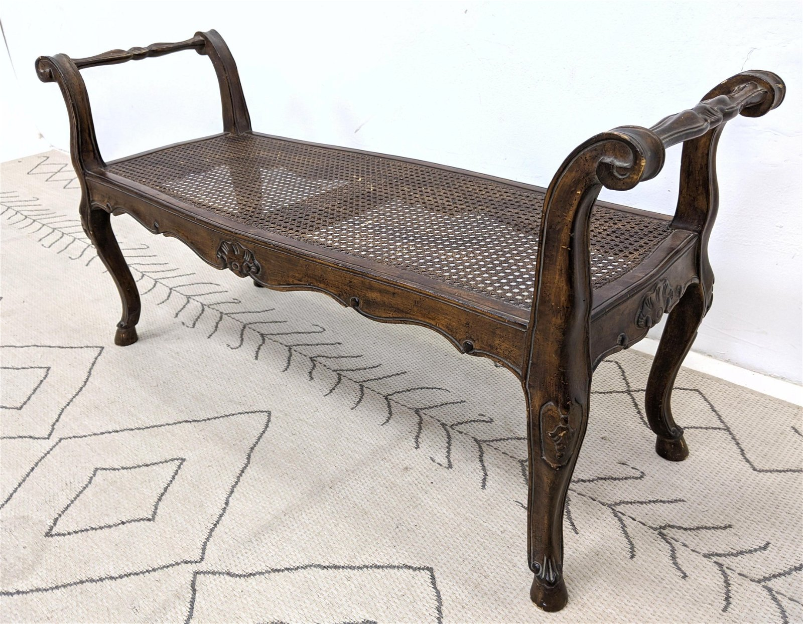 French Carved Wood Window Bench.  Cane seat Bench with