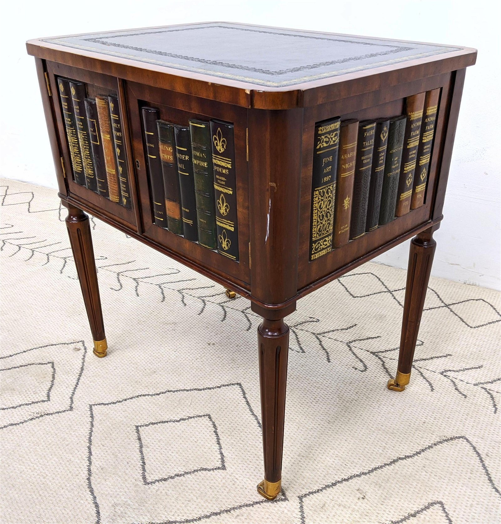 Leather Top Side Table with Book Form Doors and Sides.