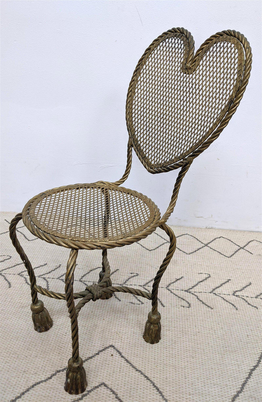 Italian Style Gilt Iron Side Chair.  Heart Shaped Back.