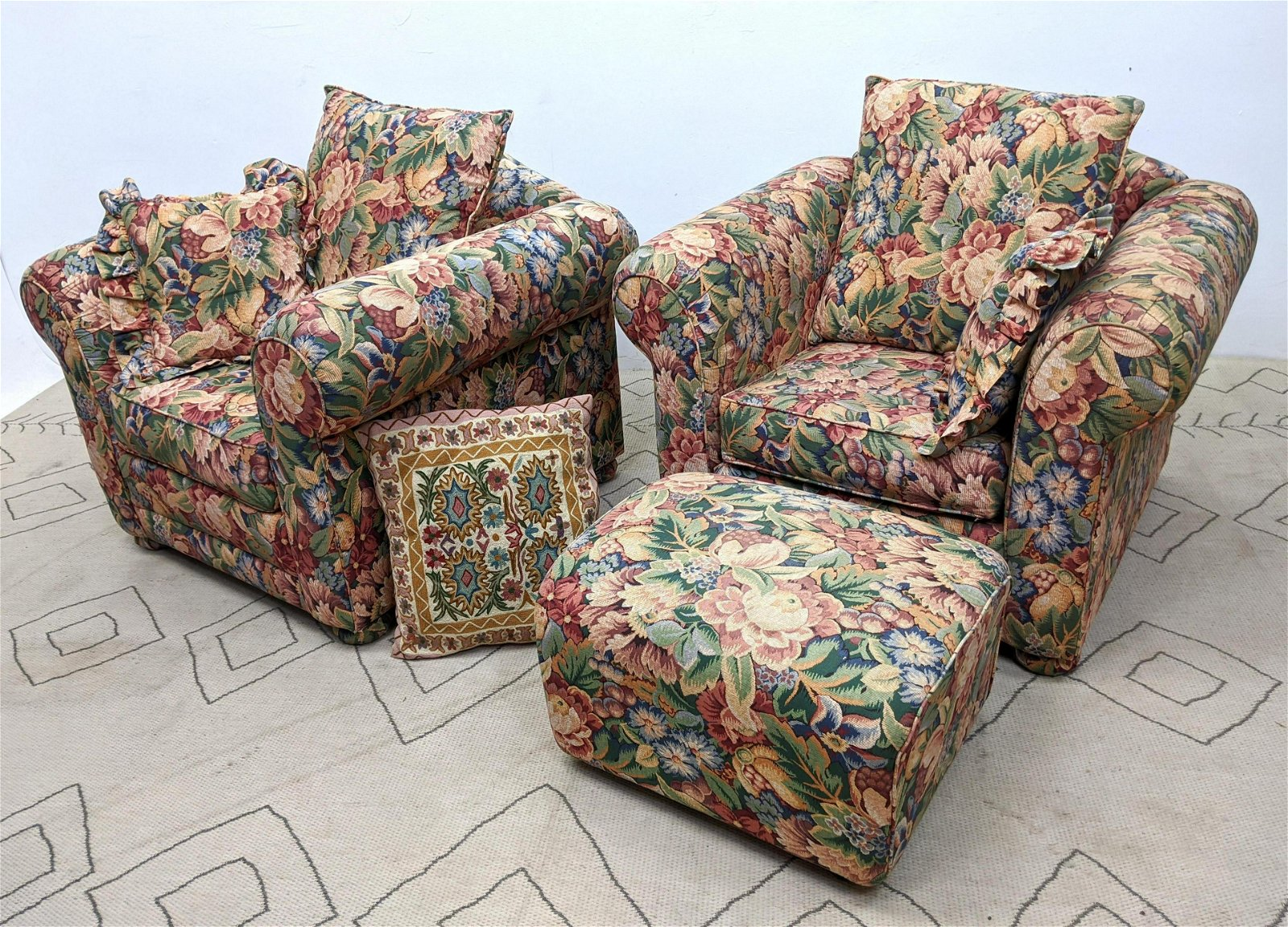Pair Oversized Floral Upholstered Lounge Chairs and Ott