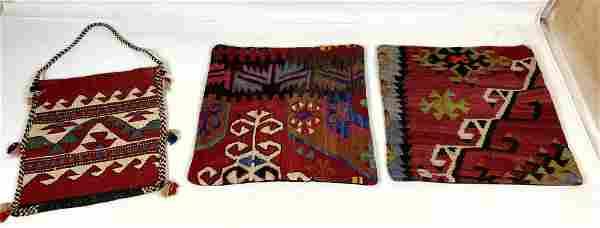 3pcs Two Caucasian Carpet Pillow covers and Woven Orien