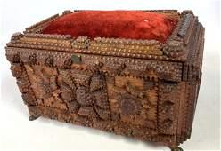 Tramp Art Sewing Dresser Box. Chip Carved.
