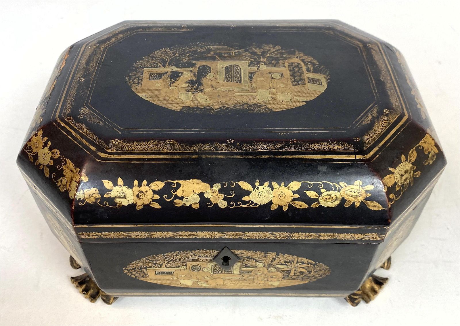 Antique Asian Style Lacquer Box.  Gold Decorated.