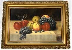 FRITZ STOLTENBERG 1913 Still Life Oil Painting of Fruit