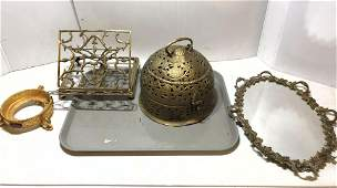 Brass lot  Dresser mirror tray book stand Dome top b
