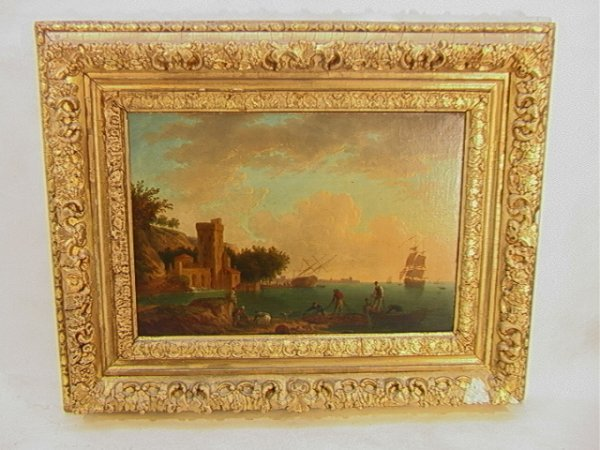 1001: Antique Oil Painting European Harbor Scene.  Canv
