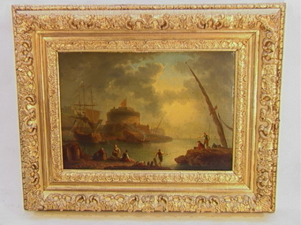 1002: Antique Oil Painting European Harbor Scene.  Canv