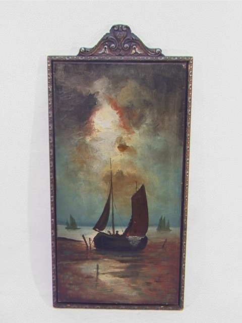 1003: Antique Oil Painting SAILBOATS. Oil on canvas pai
