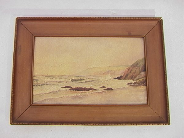 1004: Oil Painting Seascape with Rocks. Unsigned. Oil o