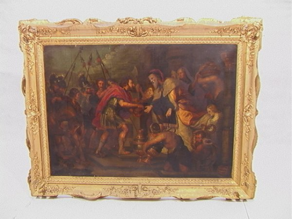 1005: 19th c. Large Oil Canvas Warriors Soldiers. Large