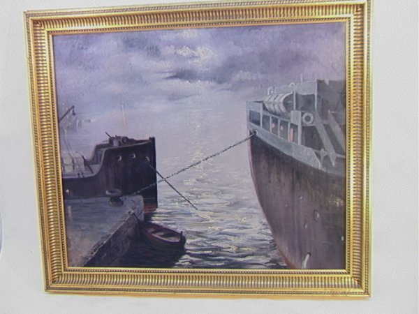 1006: A. STEPHAN Oil Canvas Painting of Ships at Dock.
