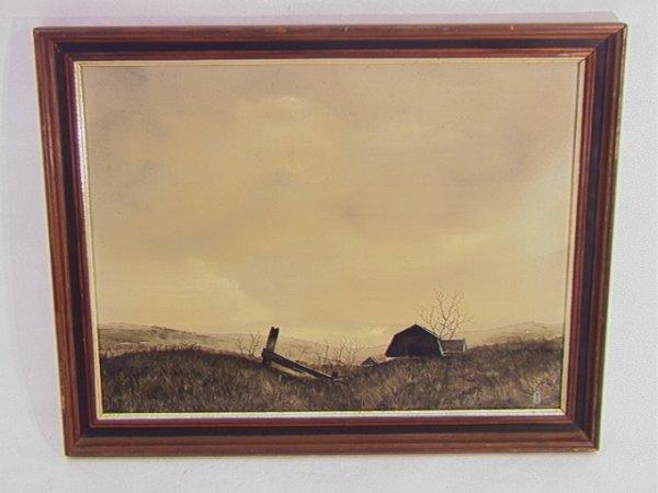 1008: D. HORNBERGER Acrylic Painting Barn LANDSCAPE. De
