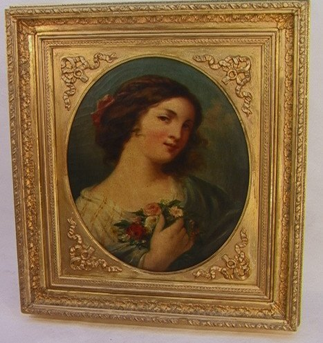 1012: Antiq. Victorian Oil Painting Portrait Young Lady