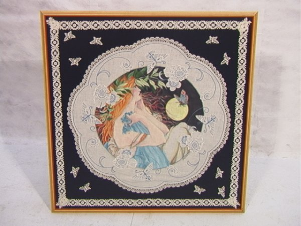 1013: Framed Embroidered Linen of Art Nouveau Lady. Rou