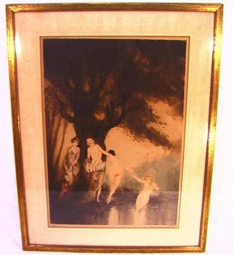 1014: LOUIS ICART Aquatint Engraving BATHING BEAUTIES.