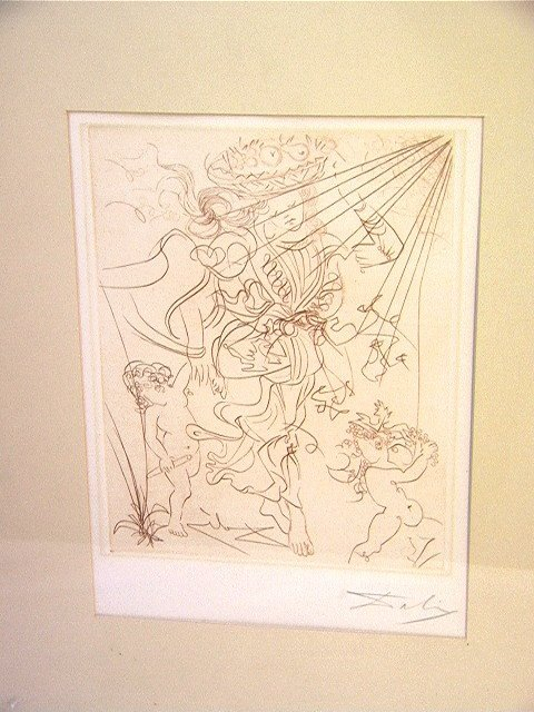 1017: SALVADOR DALI Etching Engraving Signed.  Woman wi