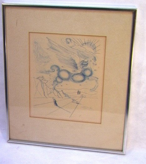 1018: SALVADOR DALI Etching Engraving Signed.  Pegasus
