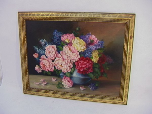 1022: G E TURNBULL Oil Canvas Painting Still Life Flowe