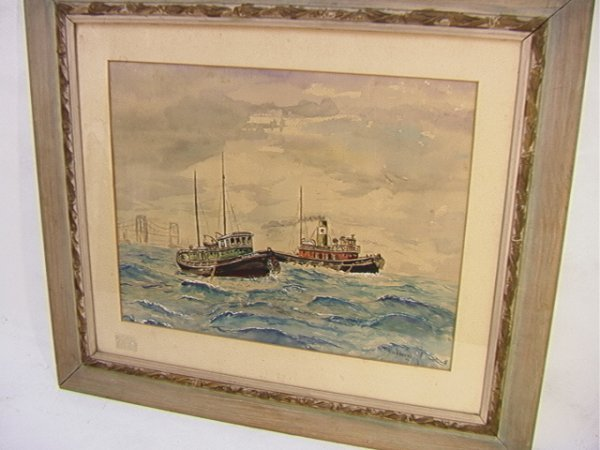 1023: R. SCHROERS 50 Watercolor Painting Tugboats. Sign
