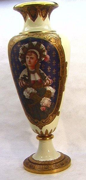 1143: Tall Porcelain Palace Urn Portrait Vase. Sevres s