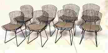 1207: Set 8 Knoll Harry Bertoia Chairs. Black wire fra
