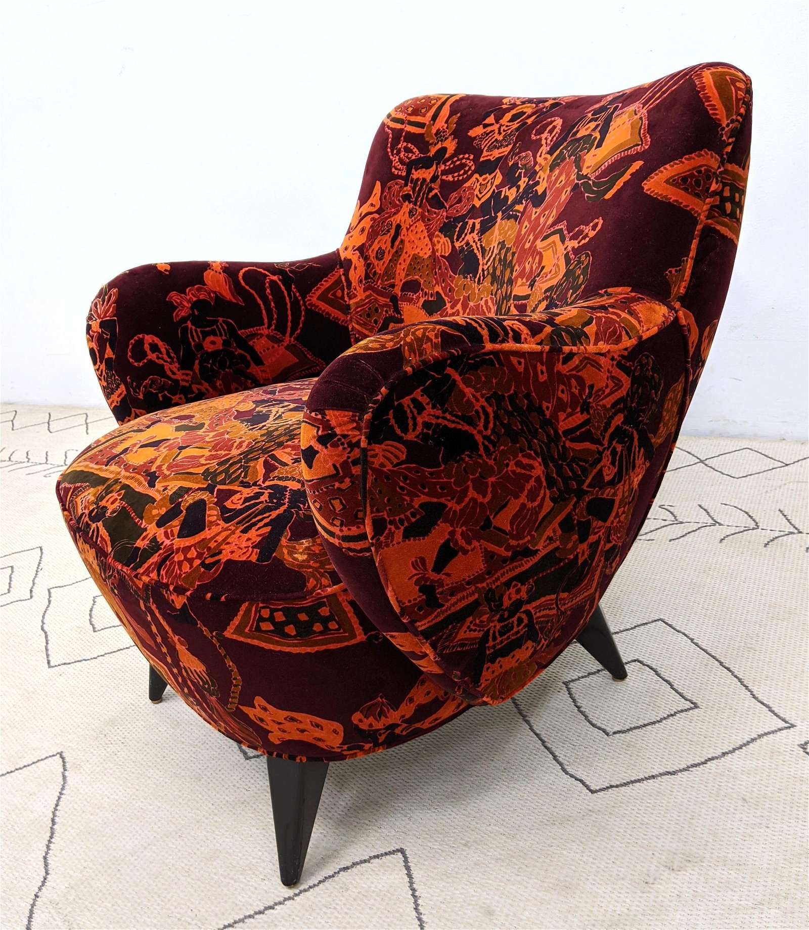 Attributed to Vladimir Kagan Lounge Chair with Vibrant