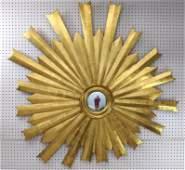 Large Gilt Wood Sunburst Wall Mirror. Bulls Eye Center