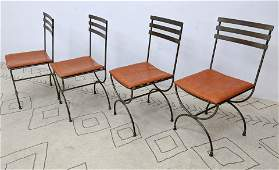 Set 4 Italian Iron Dining Chairs. Marked Made in Italy.