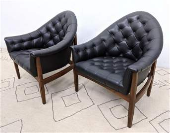 MILO BAUGHMAN Tufted Lounge Chairs.  Walnut frames. THA