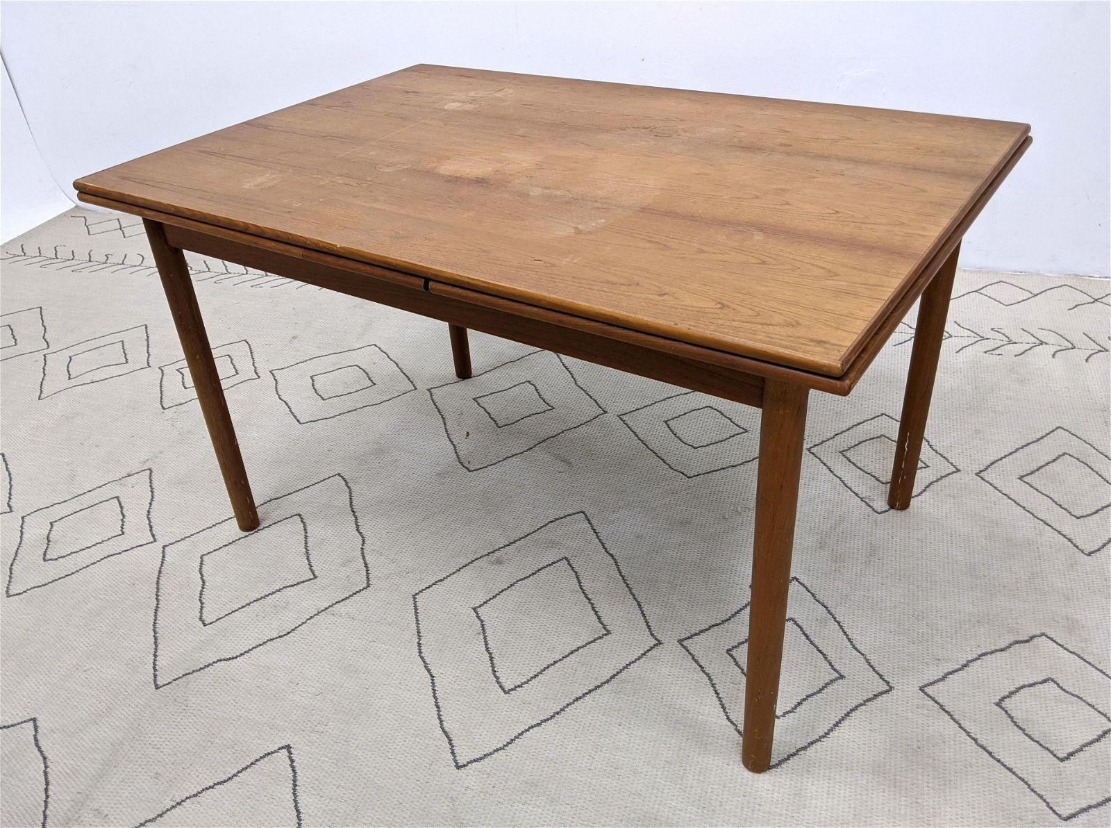 Danish Modern Teak Refractory Dining Table. Two 20.5 in