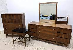 STANLEY Bedroom Set. High and Low Dressers, Bed, Mirror