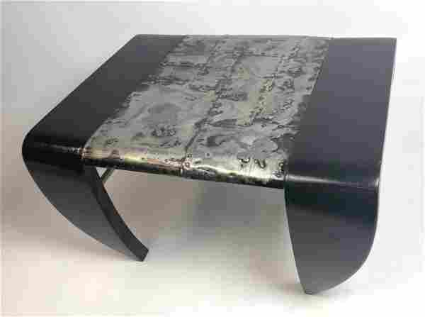 Modernist Paul Evans Style Low Wood Stool with Metal Ce