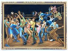 ERNIE BARNES Style Painting on Velvet. Colorful Jazz Sc